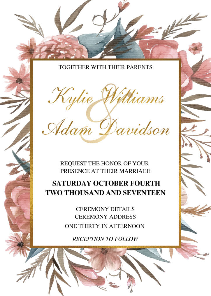 Floral wedding invitation,
