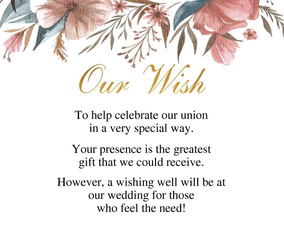 Floral wedding invitation wishing well card,