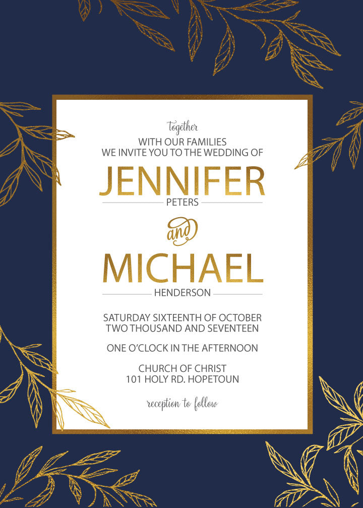 navy with gold leaves wedding invitation,