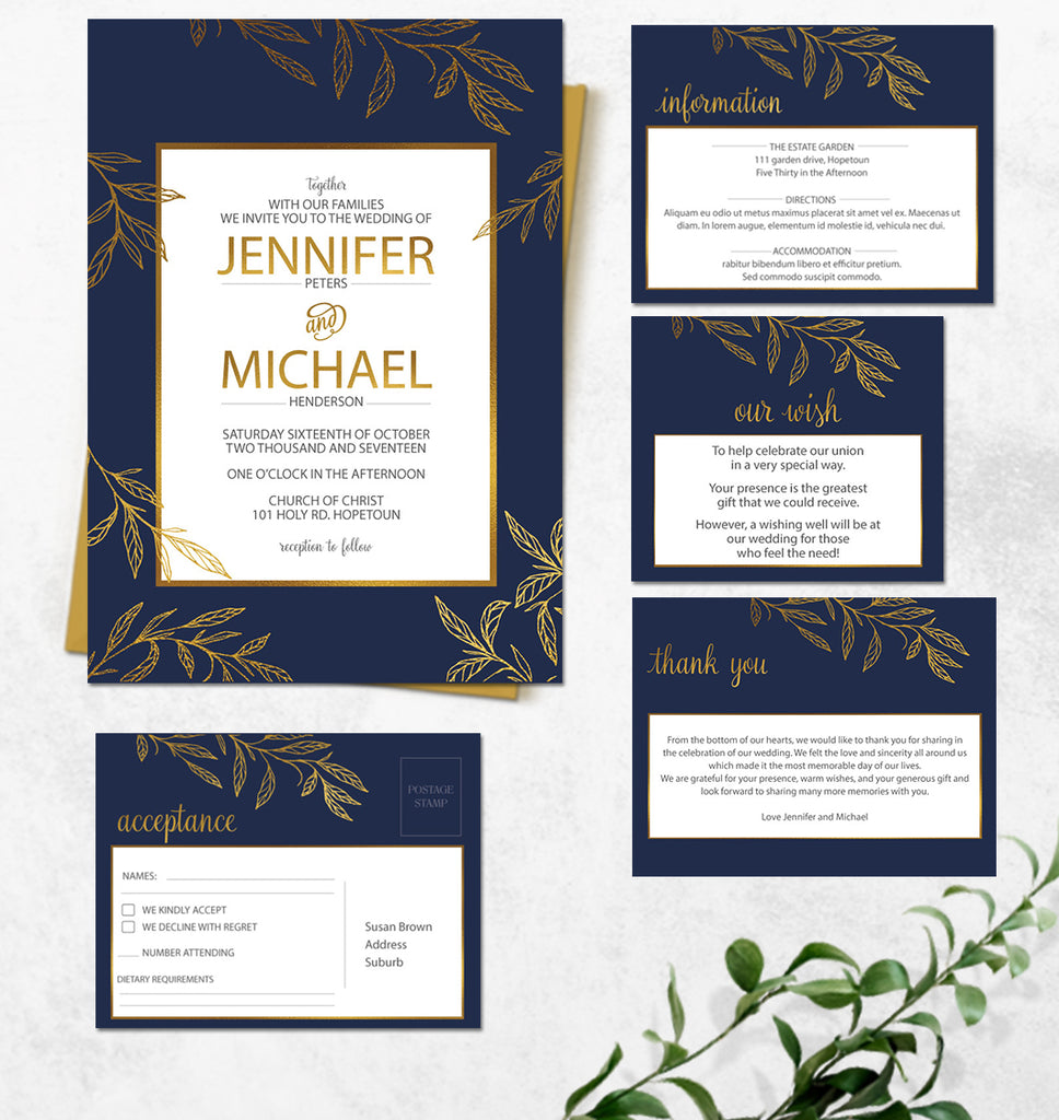 Golden leaf foliage with navy wedding invitation
