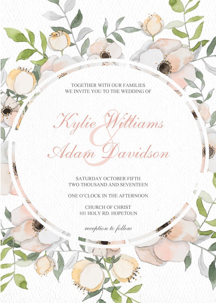 White and floral wedding invitation,