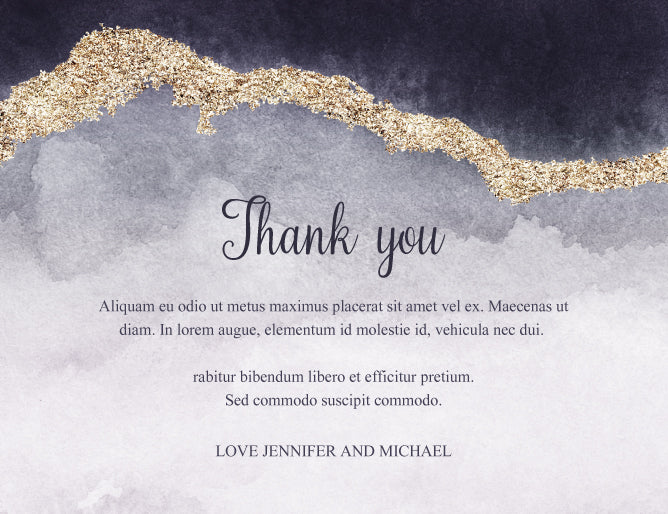 Purple and blue with gold watercolour wedding invitation thank you card