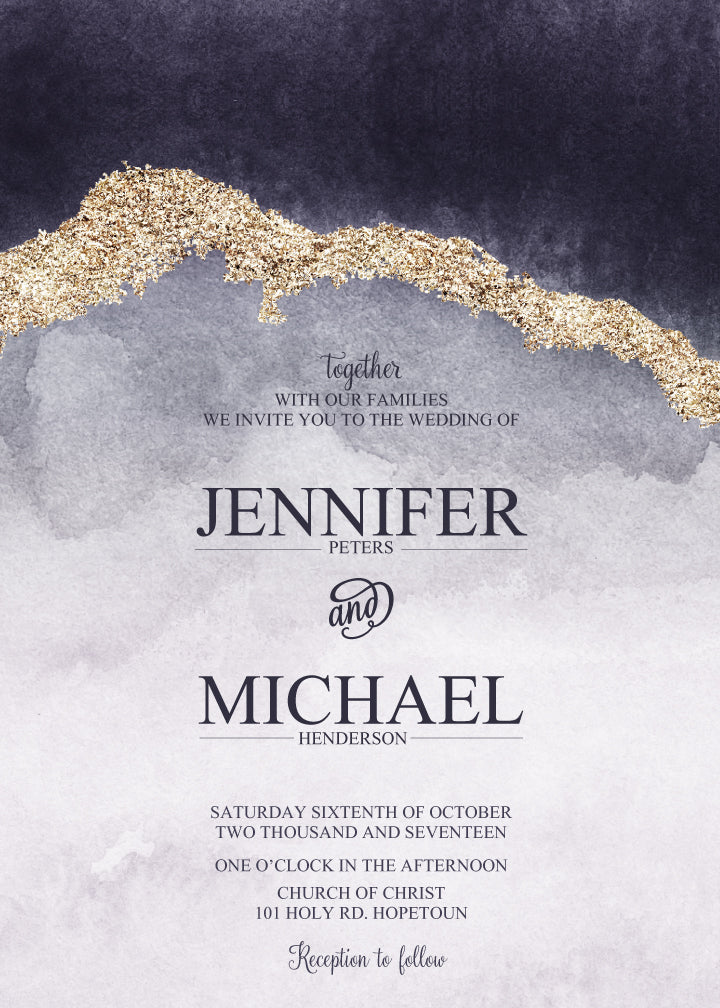 Purple and blue with gold watercolour wedding invitation