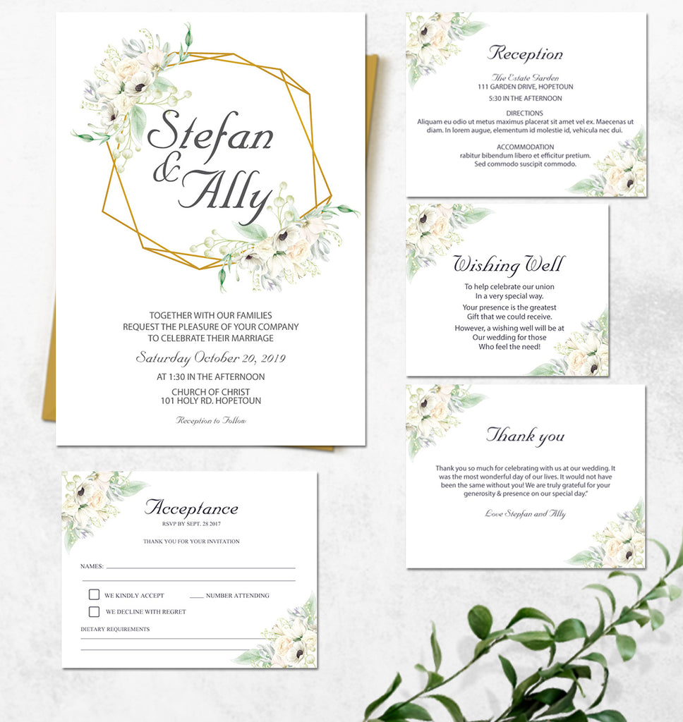 Pretty Floral with Gold Geo wedding invitation