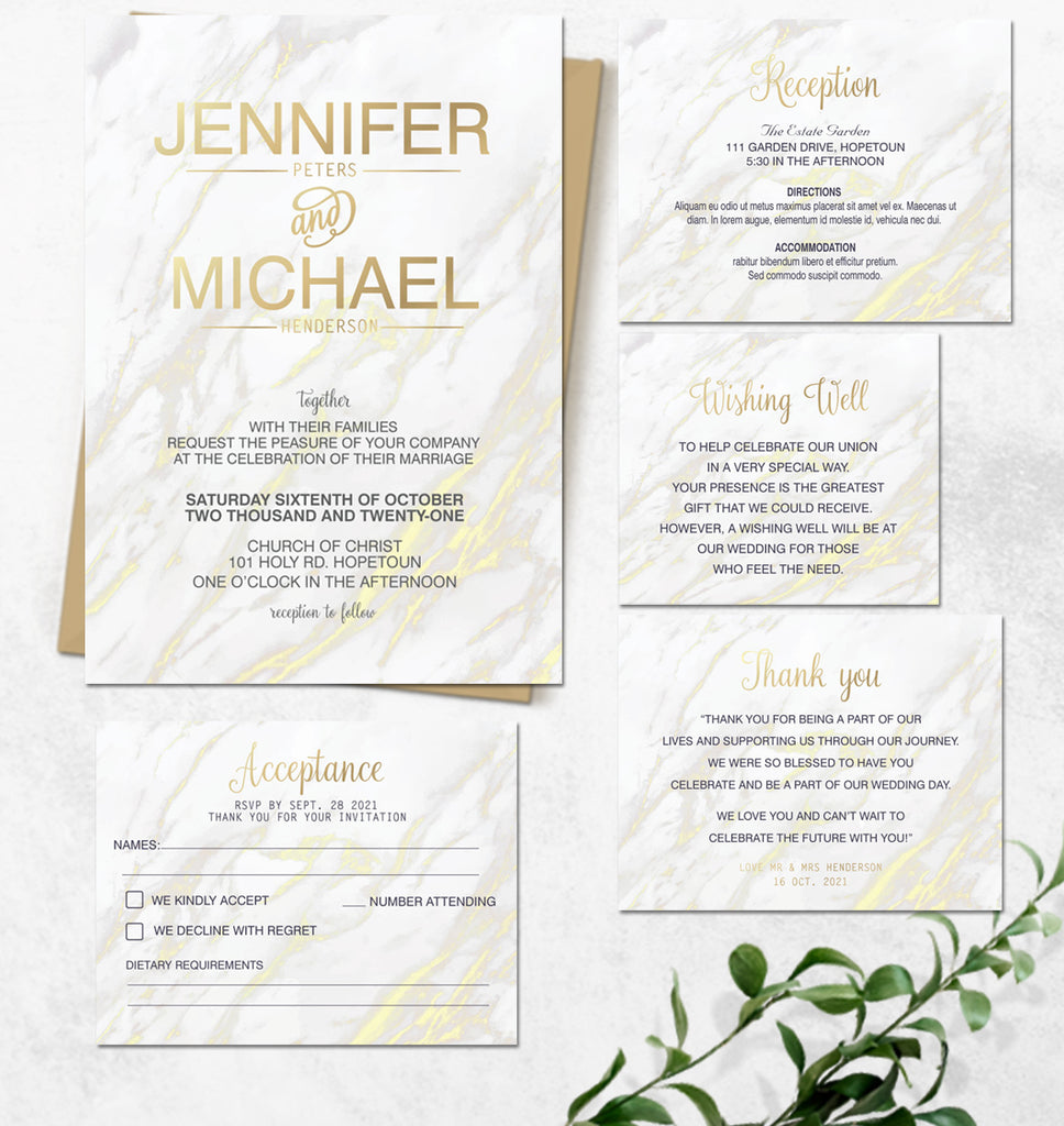 Modern gold marble online wedding invitation
