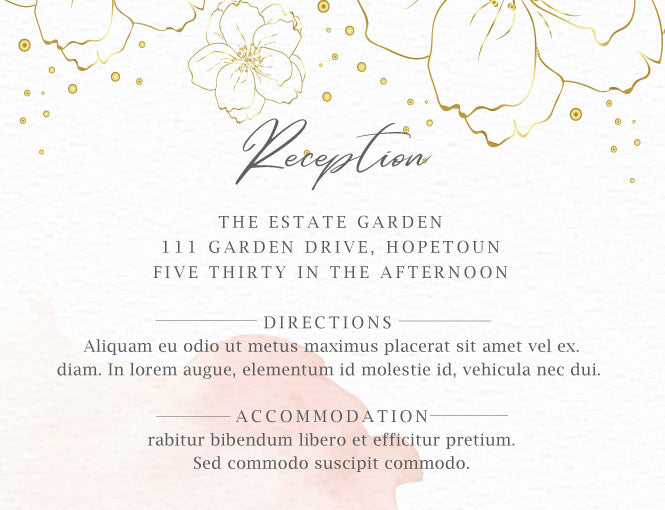 Trendy blush watercolor with gold flowers online wedding invitation