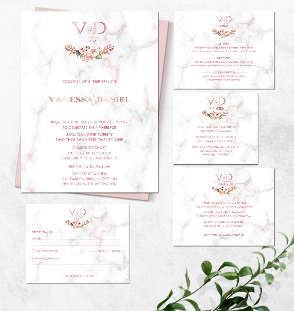 Rose gold and floral online wedding invitation