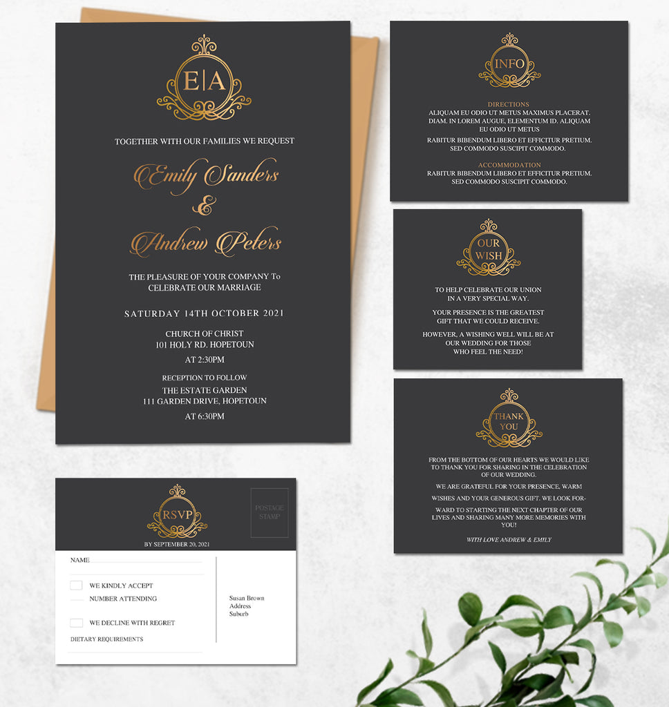 Charcoal Elegant monogram wedding invitation template