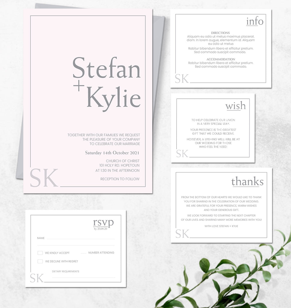 Modern simple wedding invitation design template
