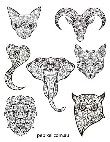 Animal Sugar Skulls, Day of the Dead, Halloween coloring in pages, sheets