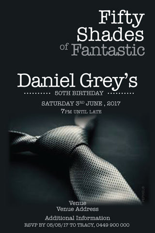 Fifty shades of grey men's birthday invitation, Fifty shades of grey party invitation,