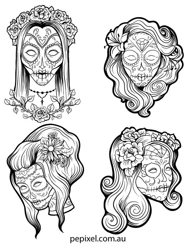 Female Sugar Skulls Day Of The Dead Halloween Coloring In Pages She