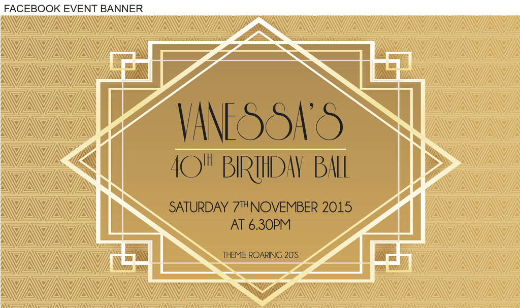 1920s great Gatsby birthday invitation, Great Gatsby gold party invitation, FACEBOOK EVENT IMAGE