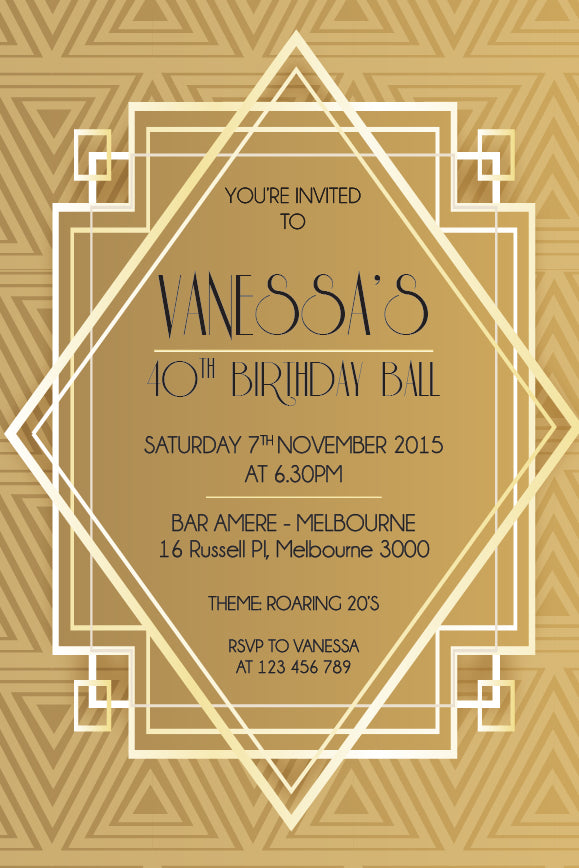 1920s great Gatsby birthday invitation, Great Gatsby gold party invitation,
