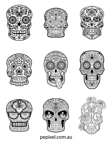 Sugar Skulls, Day of the Dead, Halloween coloring in pages, sheets