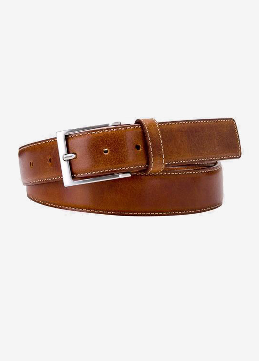 Belt Michaelis Leather Brushed Cognac met stiksel