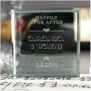 Personalized Glass Token - Happily Ever After