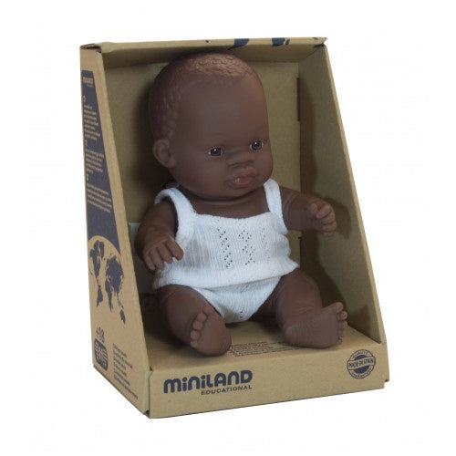 Miniland Anatomically Correct Baby Doll African Boy, 21 cm
