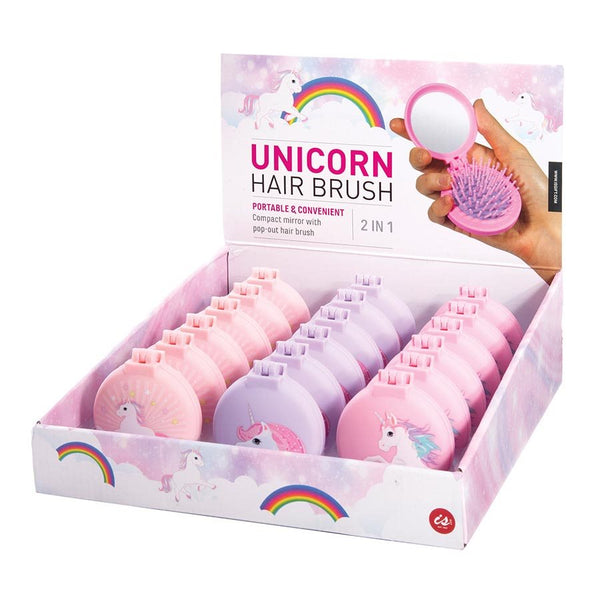 Unicorn Compact Hair Brush and Mirror - Assorted