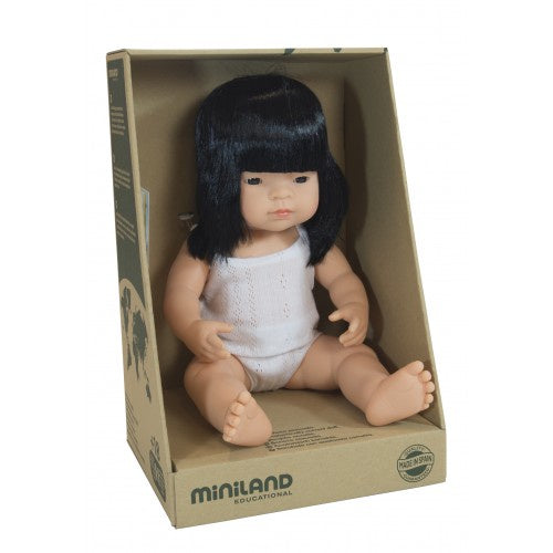 Miniland Anatomically Correct Baby Doll Asian Girl, 38 cm