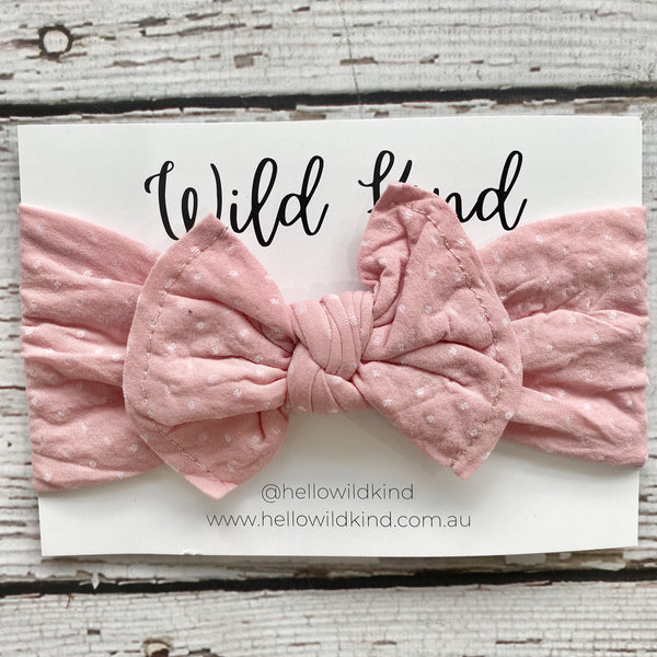 Wild Kind Mabel Dotty Wide Bow Headband - Pink
