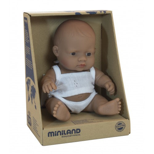Miniland Anatomically Correct Baby Doll Hispanic Boy, 21 cm