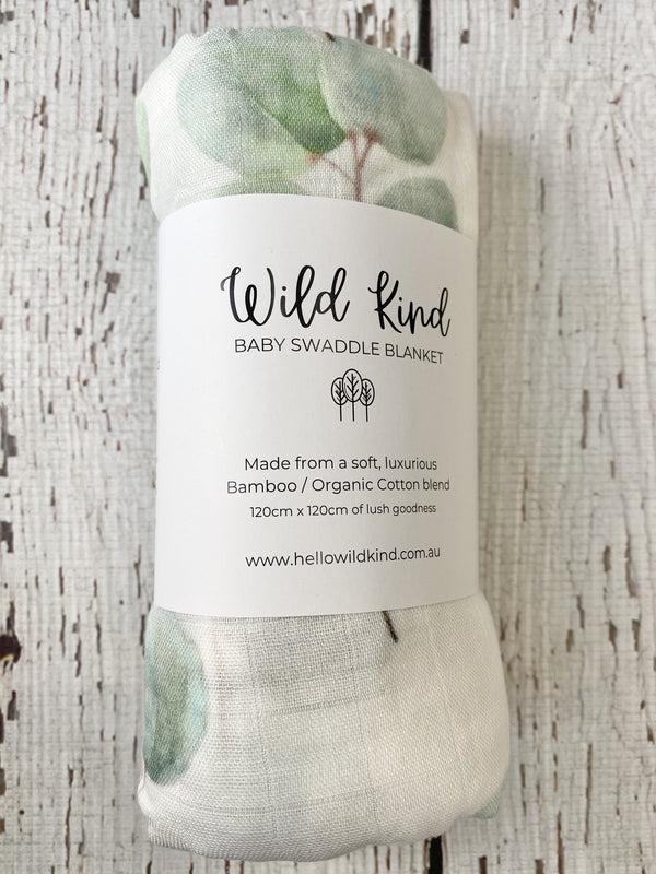 Wild Kind Baby Organic Cotton x Bamboo Swaddle - Sage Leaves
