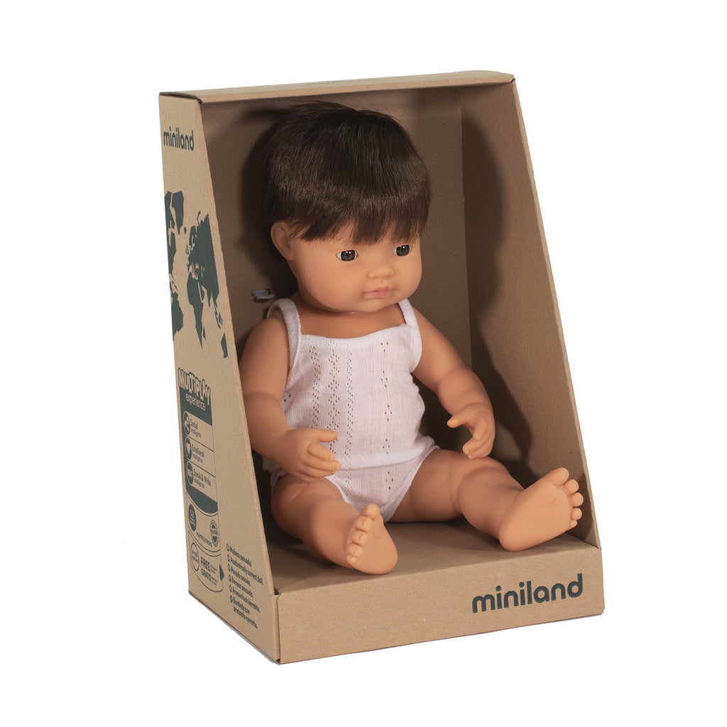 Miniland Anatomically Correct Baby Doll Caucasian Boy Brunette, 38 cm