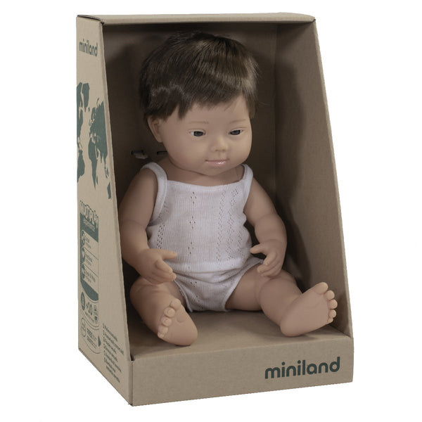 Miniland Anatomically Correct Baby Doll Caucasian with Down Syndrome Boy, 38 cm