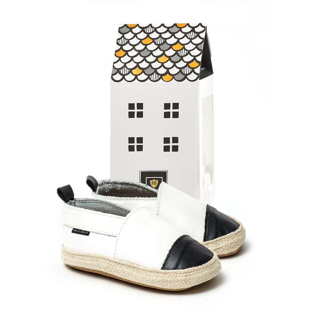 Pretty Brave Baby Leather Espadrille Shoe - White with Black Toe