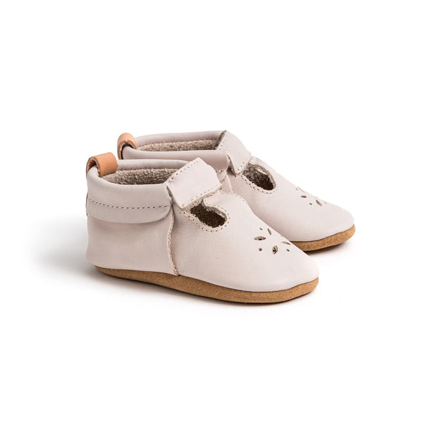 Pretty Brave Leather Baby Mary Jane Shoes - Stone