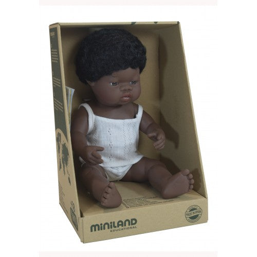 Miniland Anatomically Correct Baby Doll African Boy, 38 cm