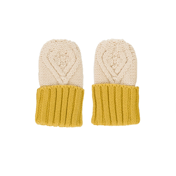 Cable Knit Mittens - Oatmeal