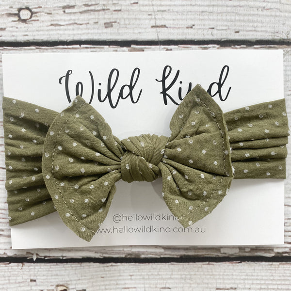 Wild Kind Mabel Dotty Wide Bow Headband - Olive