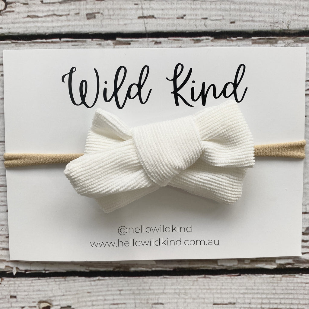 Wild Kind Florence Cord Bow Headband - Milk