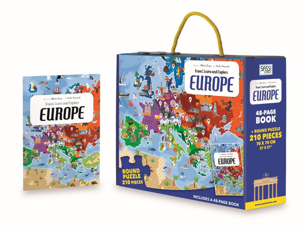 Travel Learn and Explore - Europe 200+ Piece Puzzle & Book