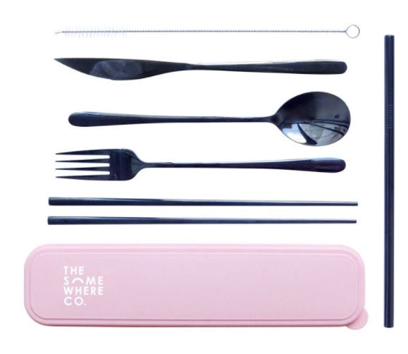 Take Me Away Cutlery Set - Black (Pink Case)