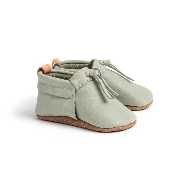 Pretty Brave Leather Baby Moccasin Shoes - Thyme