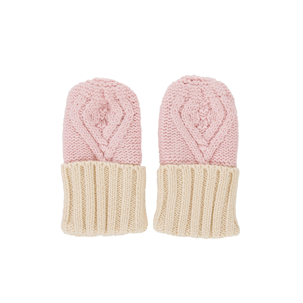 Cable Knit Mittens - Pink