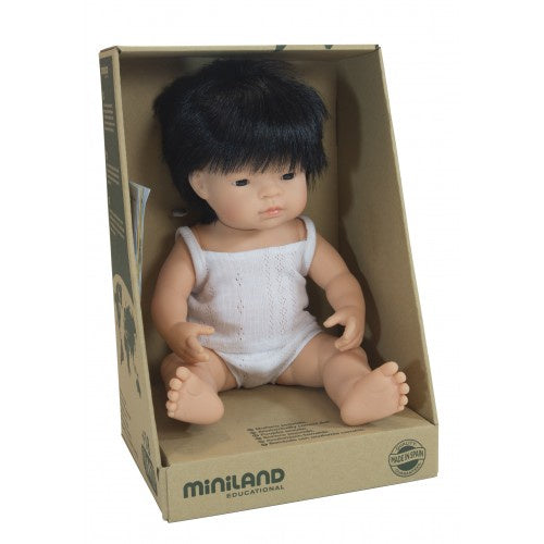 Miniland Anatomically Correct Baby Doll Asian Boy, 38 cm