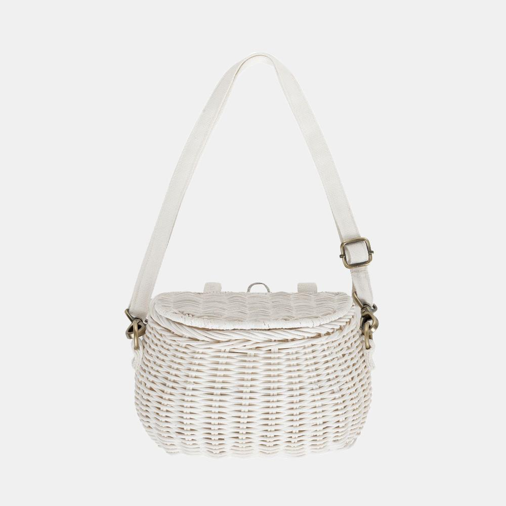 Olli Ella Mini Rattan Chari Bag - White
