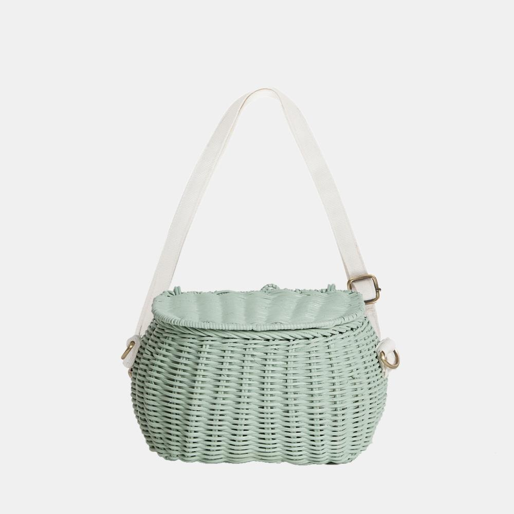 Olli Ella Mini Chari Rattan Bag - Mint