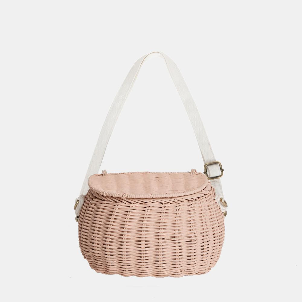 Olli Ella Mini Rattan Chari Bag - Rose