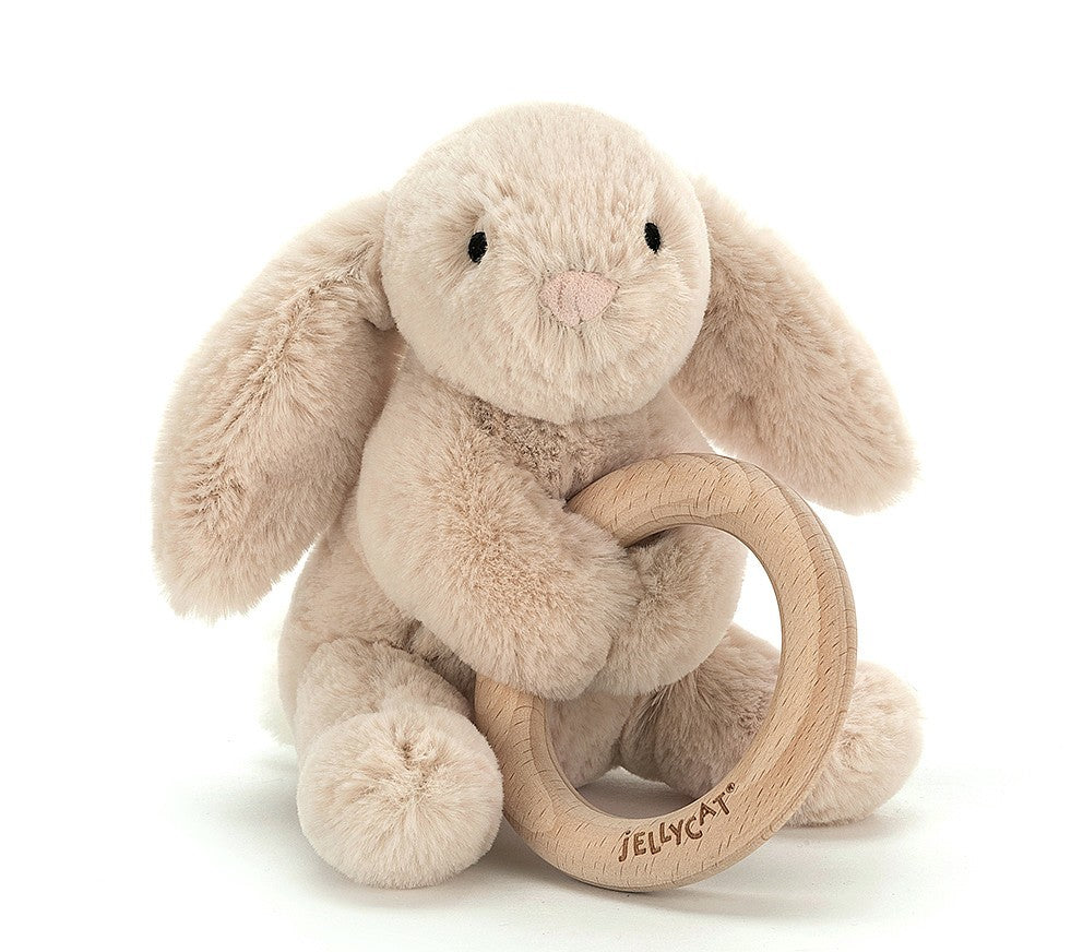 Jellycat Shooshu Wooden Toy Ring - Bunny