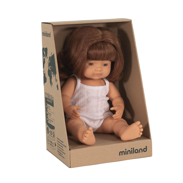Miniland Anatomically Correct Baby Doll Caucasian Girl Red Head, 38 cm