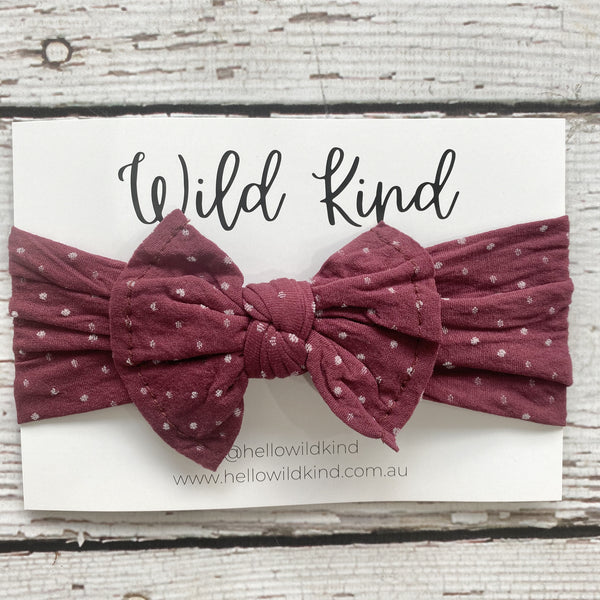 Wild Kind Mabel Dotty Wide Bow Headband - Burgundy