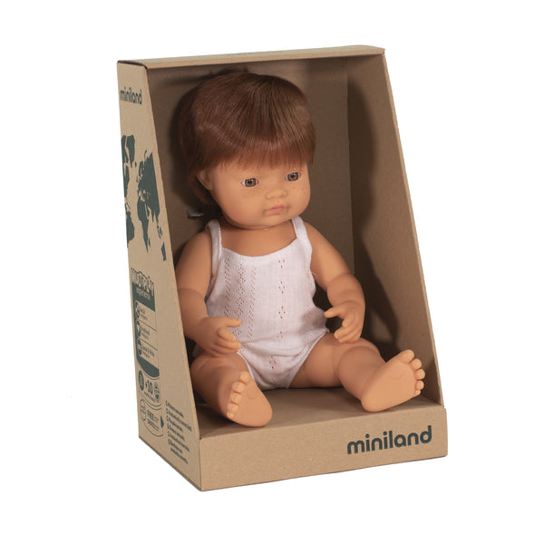 Miniland Anatomically Correct Baby Doll Caucasian Boy Red Head, 38 cm