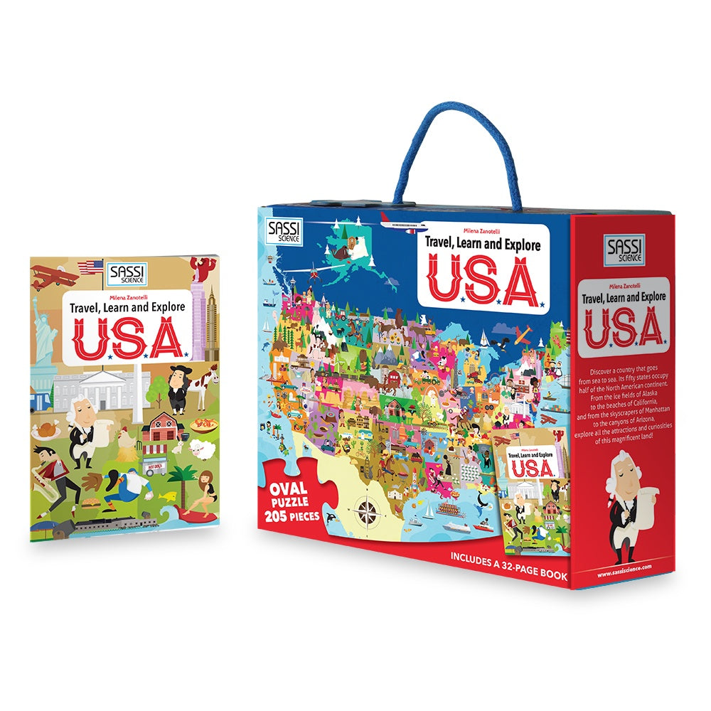 Travel Learn and Explore - USA 200+ Piece Puzzle & Book