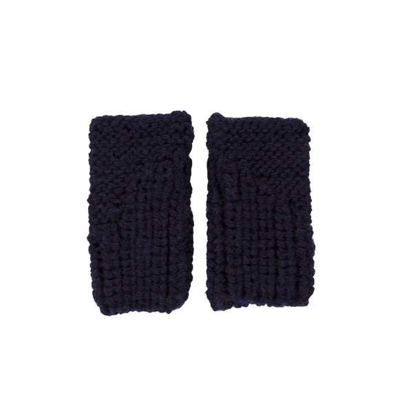 Traveller Fingerless Mittens - Navy