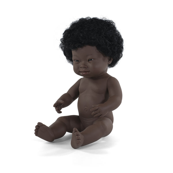 Miniland Anatomically Correct Baby Doll African with Down Syndrome Girl, 38 cm